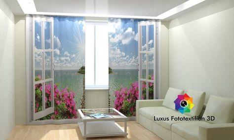 Details zu Store Fotogardine Chiffon in Luxus Fotodruck 3D mit - vorhänge für schlafzimmer