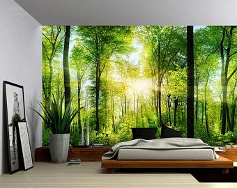 Fantasy Enchanted Magical Forest Large Wall Mural Etsy Large Wall Murals Forest Mural Forest Wall Mural