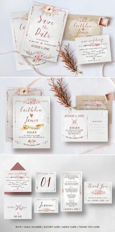 Boho Flower Wedding Suite Design PSD