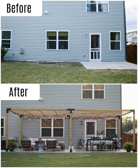 Before and After Patio Makeover- from a basic concrete slab to a modern an. Before and After Patio Makeover- from a basic concrete slab to a modern and budget friendly patio with a modern pergola! Backyard Patio Designs, Pergola Designs, Backyard Projects, Pergola Patio, Diy Patio, Backyard Landscaping, Patio Stone, Budget Patio, Patio Privacy