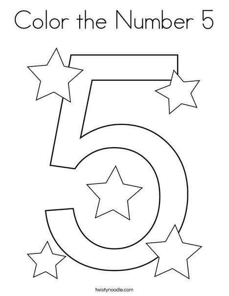 Color The Number 5 Coloring Page Twisty Noodle Numbers