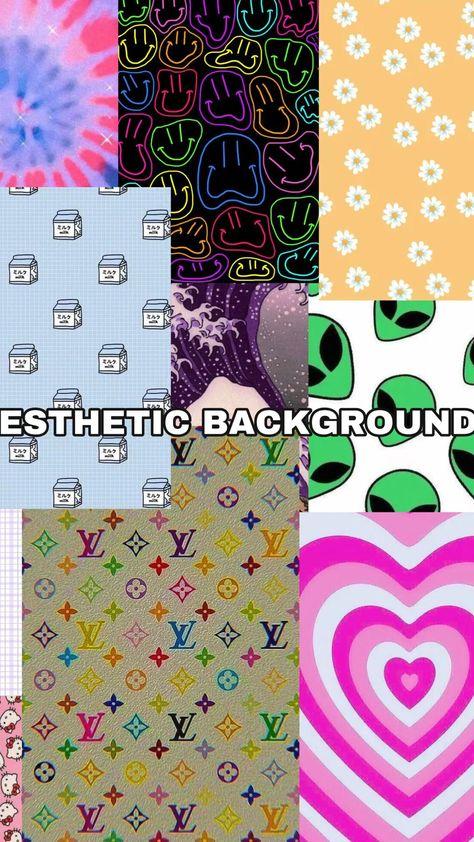 aesthetic backgrounds / wallpapers (hello kitty, heart, flowers, aliens, milk, louis vuitton, smile)