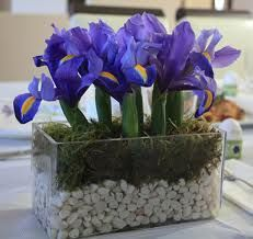 Blue iris wedding centerpiece  -from jeannebenedict.com