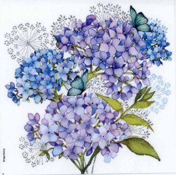 20 X GARDEN FORGET ME NOT BLUE FLORAL FLOWERS 3 PLY PAPER SERVIETTES NAPKINS