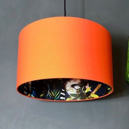 Silhouette Cotton Lampshade Blue Lemur In Tangerine Quirky Decor Drum Lampshade Rawhide Lampshades