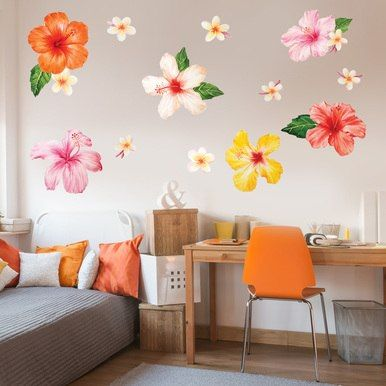 Tropical Hibiscus Plumeria Flower Watercolor Wall Decal Sticker