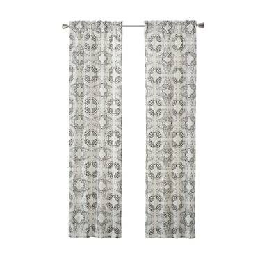 Liza Abstract Semi Sheer Rod Pocket Curtain Panels Panel