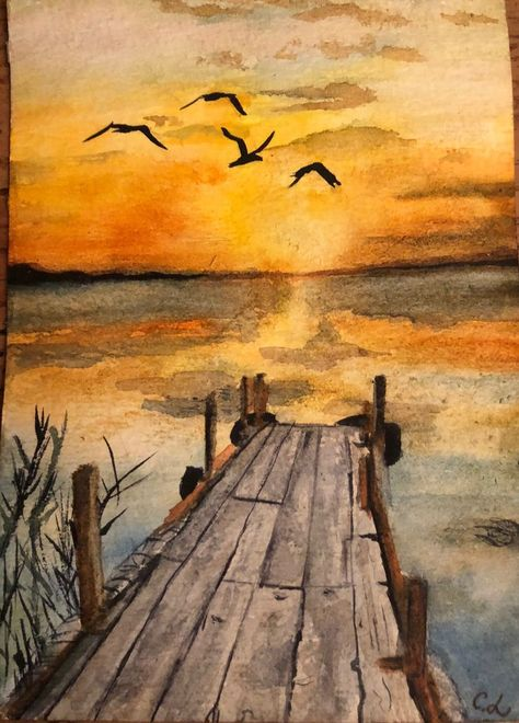 The old dock ends at nature's wonderous sunset over  the still waters. #drawings #art