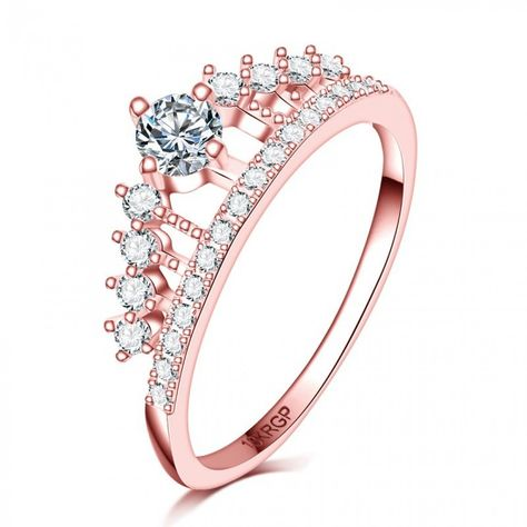 New Exquisite Princess Women Rose Gold Plated Rhinestone Crown Ring Size 4-9