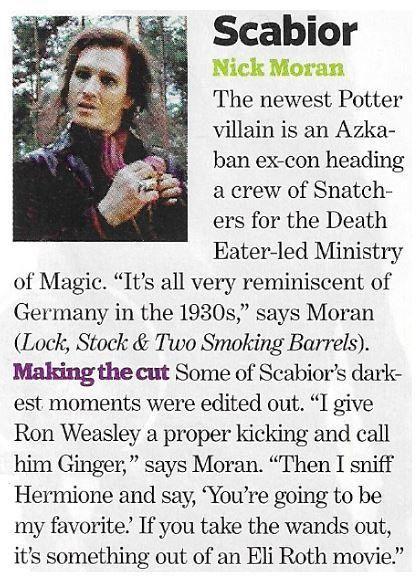 Moran Nick As Scabior Magazine Article November 2010 Harry Potter Moran Magazine Articles Entertainment Magazine