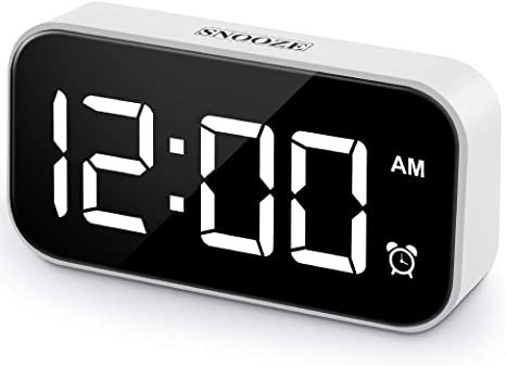 Beyoxfath Digital Alarm Clock 5 Inch Led Screen Battery Backup 12 24h 5 Brightness 6 Different Tone Settings Snooze Alarm Clock Clock Digital Alarm Clock