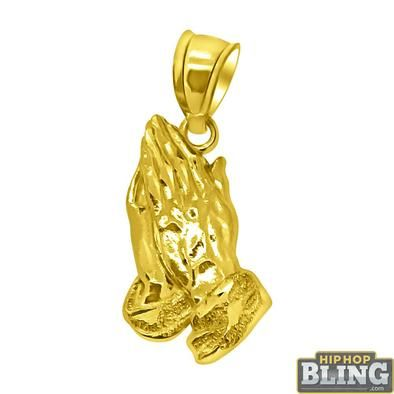 Real 10k Yellow White Gold Praying Hands Pendant Charm 20 By Rg D White Gold Pendants Charms Pendants