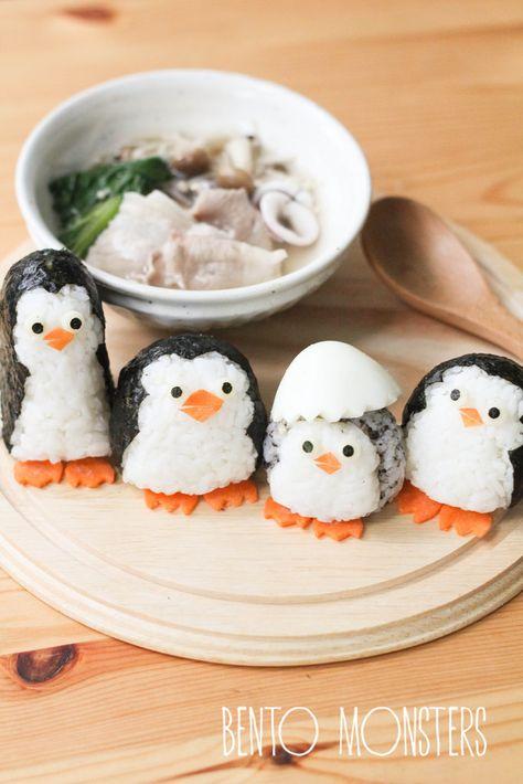 Yummy Penguins made from rice - such CUTE food! Food Kawaii, Kawaii Bento, Bento Recipes, Baby Food Recipes, Cute Food, Yummy Food, Cute Bento Boxes, Japanese Food Art, Sushi Art