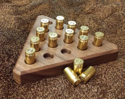 This ACP Triangle Peg Game is the perfect accessory for any serious game room or man cave or even an executive desk for a professional office. Makes a great gift for hunters or gun enthusiasts. Great gift for men. gifts for women Diy Gifts For Christmas, Great Father's Day Gifts, Unique Gifts For Men, Men Gifts, Fun Gifts For Women, Fathers Gifts, Diy For Men, Simple Gifts, Bullet Casing Crafts