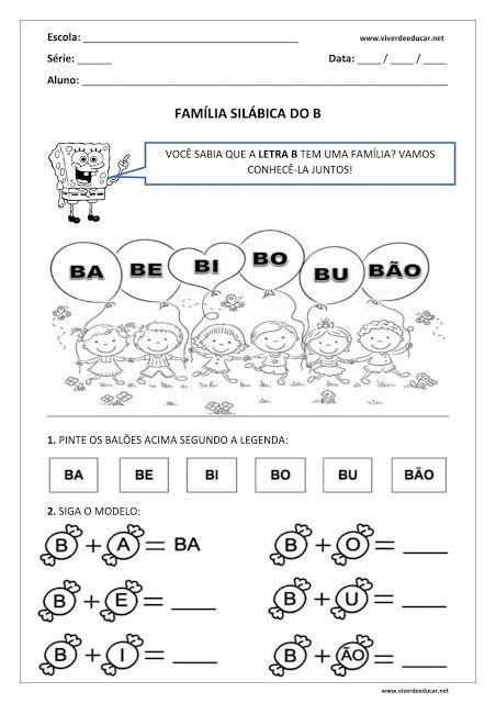 Atividade Sobre Familia Silabica Da Letra B Educacao Infantil