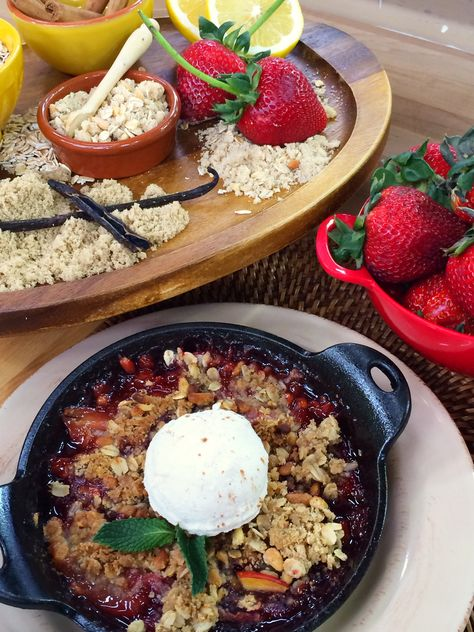 @Cristina Ferrare  makes strawberry and nectarine crisp with pine-nut crumble. #homeandfamily #homeandfamilytv #strawberry #nectarine