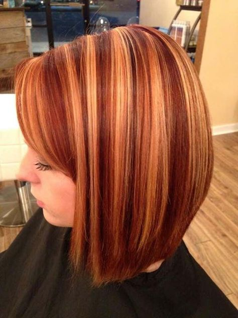 Red and blonde highlights Charmarie Salon Christiansburg