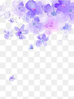 Purple Watercolor Flower Floating Material Watercolor Clipart