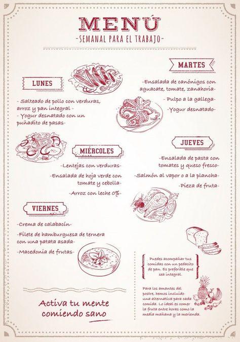 Menú Semanal Para Comer Sano En El Trabjo Menú Semanal De Comidas Comidas Semanales Menu Semanal Saludable