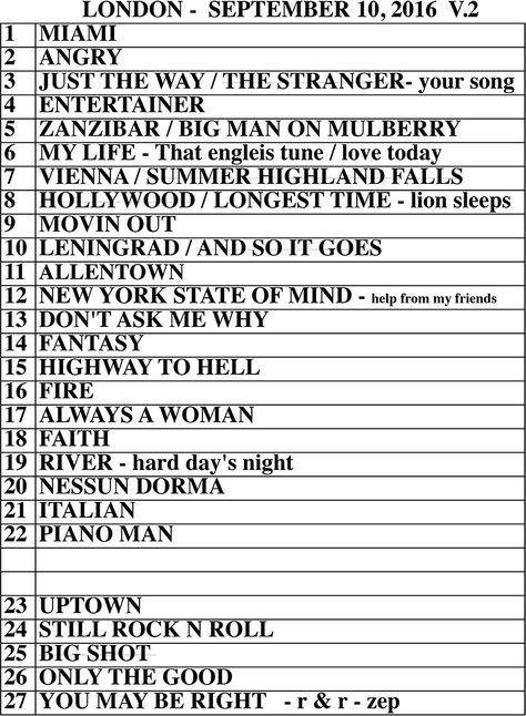 Set list from Billy Joel Wembley Stadium London, England concert September 10…
