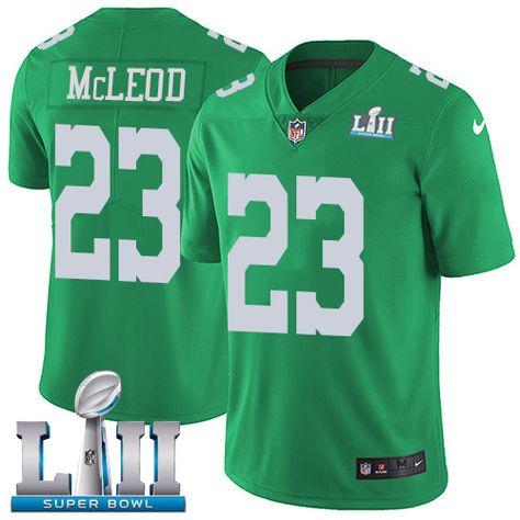d81321356 Nike Eagles  23 Rodney McLeod Jr Green Super Bowl LII Men s Stitched NFL  Limited Rush Jersey