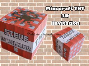 MINECRAFT TNT 3D CUBE MINECRAFT 3D INVITATION. Printable Minecraft invitation…