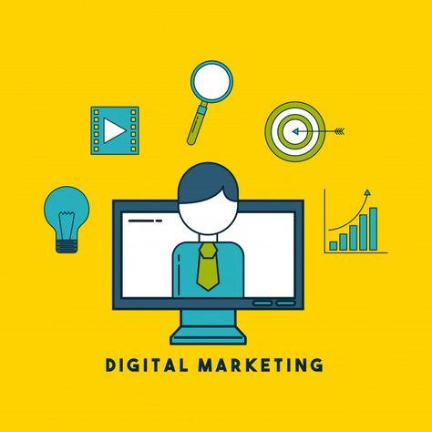 Desenhos animados de marketing digital V...   Premium Vector #Freepik #vector #fundo #negocio #pessoas #tecnologia