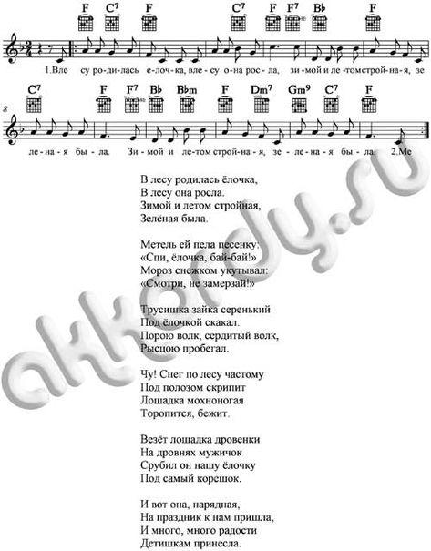 Noty I Akkordy V Lesu Rodilas Elochka Noty Fortepiannaya Muzyka Detskie Pesni