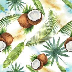 Watercolor Vector Seamless Pattern Of Coconut And Palm Trees