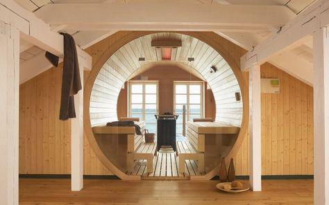 KLAFS Maßanfertigung einer Sauna nach Ihrem Wunsch Dachgeschoss - schlichtes sauna design holz seeblick