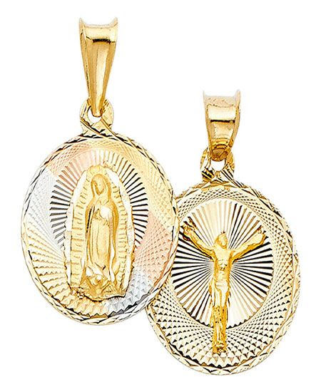 14K Tri Color Gold Diamond Cut Stamp Communion Charm Pendant with 2.1mm Valentino Chain Necklace