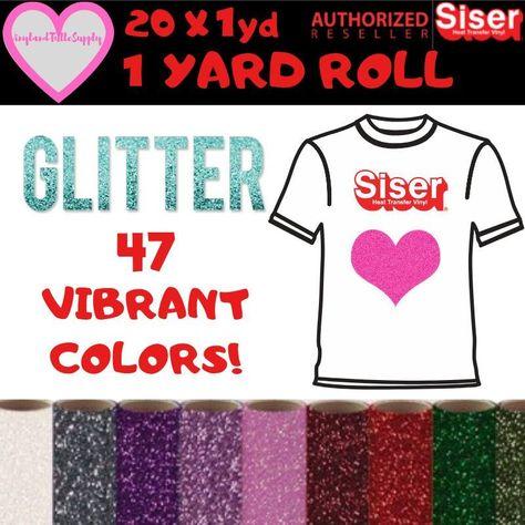 "12/"" x 20/"" IRON-ON Glitter Heat Transfer Vinyl HTV  for Cricut//Silhouette Silver"