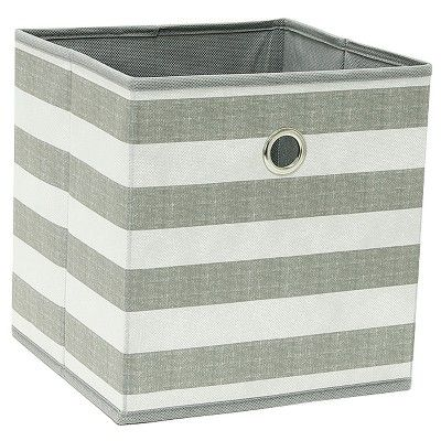 11 Fabric Cube Storage Bin Gray White Stripe Room Essentials In 2020 Cube Storage Bins Cube Storage Storage Bin