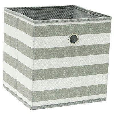 11 Fabric Cube Storage Bin Gray White Stripe Room Essentials In 2020 Cube Storage Bins Cube Storage Storage Bin