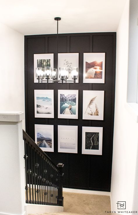 Spruce up your staircase with an oversized gallery wall and accent paint color. Easily create this detailed accent wall with custom cut moulding using HART Tools found at Walmart! Gallery Wall Staircase, Stairwell Wall, Picture Wall Staircase, Gallery Walls, Picture Walls, Staircase Pictures, Modern Gallery Wall, Gallery Frames, Staircase Ideas