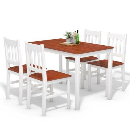 Gymax 5 Piece Dining Table Set 4 Chairs Solid Wood Home Kitchen Breakfast Furniture Image 1 O Solid Wood Dining Set Dining Table Setting White Dining Table Set