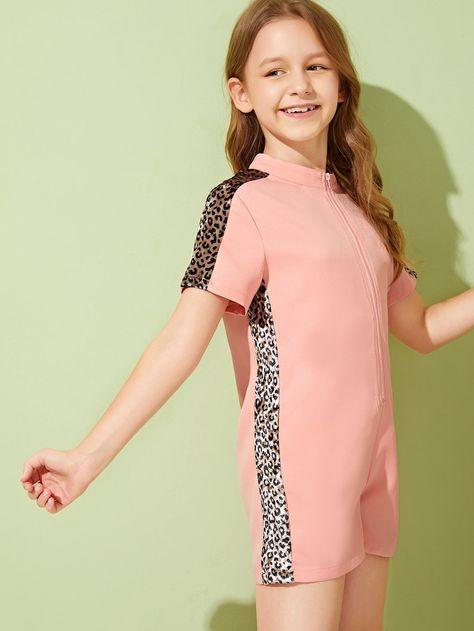 Girls Zip Front Leopard Sideseam Romper | SHEIN UK