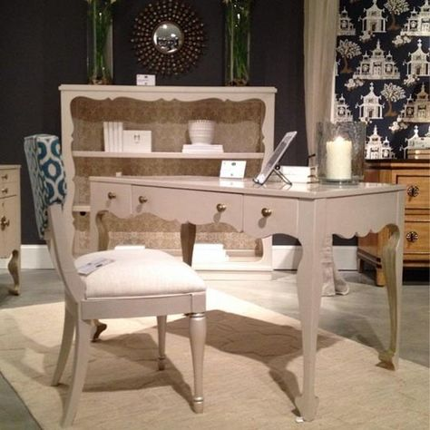 Hooker's take on the home office. Light, bright, and super decorative. My favorite detail is the gold & cream wallpaper pattern used to line the back of the bookshelf and inside the drawers. Hooker IHFC # C1058