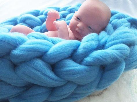 Chunky Giant Stich 100% Merino Wool Baby Blanket