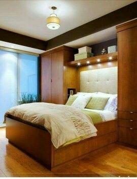 Cama Empotrada Con Closet A Los Lados Dormitorios Armarios De Dormitorio Decoraciones De Dormitorio