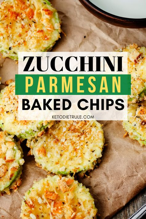 Looking for low-carb snacks that fit well within your keto macros? This home zucchini parmesan baked chips are perfect. So savory and easy to make. Parmesan Zucchini Chips, Zuchinni Chips, Zucchini Chips Recipe, Healthy Low Carb Recipes, Keto Recipes, Cooking Recipes, Easy Low Carb Meals, Low Carb Zucchini Recipes, Chili Recipes