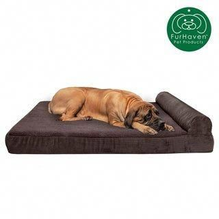 Furhaven Pet Bed Faux Fleece Corduroy Chaise Lounge Orthopedic Sofa Dog Bed Jumbo Plus Dark Espresso Brown Facebrow In 2020 Dog Sofa Bed Pet Sofa Bed Pet Bed