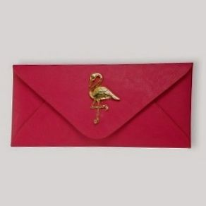 Mudpie- pink envelope clutch with gold enamel flamingo  $45