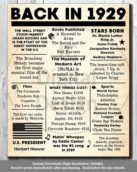 1929 Back In 1929 Black And White Poster Birthday 1929 Facts Etsy In 2020 Birthday Poster Fun Facts Childhood Memories