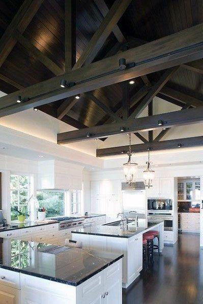 Top 70 Best Vaulted Ceiling Ideas High Vertical Space Designs Kitchen Lighting Design Wood Beam Ceiling Track Lighting Kitchen Best lighting for vaulted ceilings