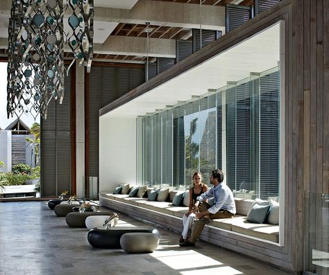 "1. Long Beach Resort | Mauritius | Keith Interior Design: I like the window seats. Nice pillows and a deep seat ensure no ""butts in the window."""
