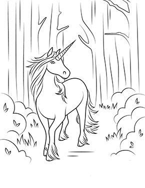 Ausmalbild Einhorn Spaziert Im Wald Zum Kostenlosen Ausdrucken Und Ausmalen Fur Kinder Ausmalbilde Kostenlose Ausmalbilder Einhorn Zum Ausmalen Ausmalbilder