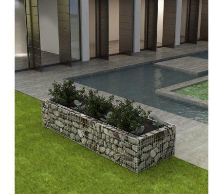 vidaXL Gabion Planter Steel Flower Wire Basket Stone Garden Outdoor Plant Bed