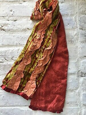 Velvet And Silk Scarf Lime And Burnt Orange With Ruffles Ebay In 2020 Silk Scarf Silk Pashmina Scarf