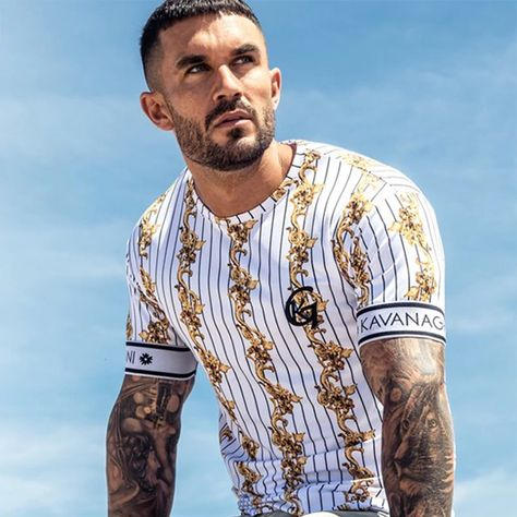 Casual Men Stripe Tops Hip Hop T Shirt SF – loveitbabe